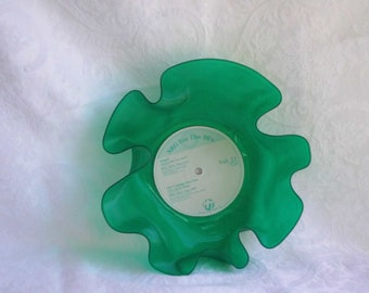 Green Transparent Colored Vinyl Record Bowl