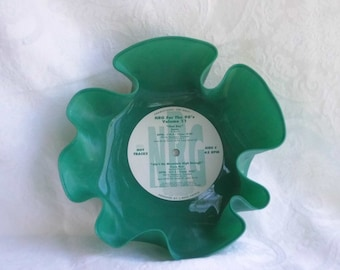Green/white Marbled Vinyl Record Bowl