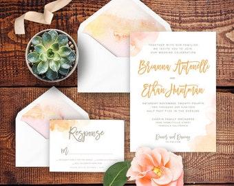 Watercolor wedding invitation Etsy