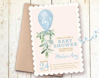 Baby boy shower invitation etsy baby shower invitations baby boy shower invitations blue balloon boy greenery baby shower its a boy invite filmwisefo