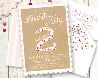 Two Year Old Birthday Invitation Confetti Sprinkle Rustic Chic Party One