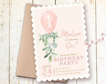 Girl Birthday Invitation 1st Invitations One Year First Party Balloon Greenery Blush