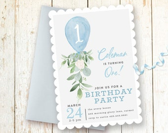 Boy Birthday Invitation 1st Invitations One Year First Party Balloon Greenery Blue