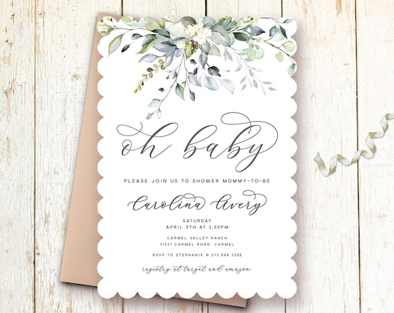 Elegant Greenery Baby Shower Invitations Modern Baby
