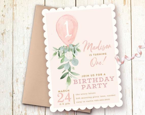 Girl Birthday Invitation 1st Invitations One