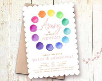 Paint Party Birthday Invitations, Girl, Pink, Printed, Printable