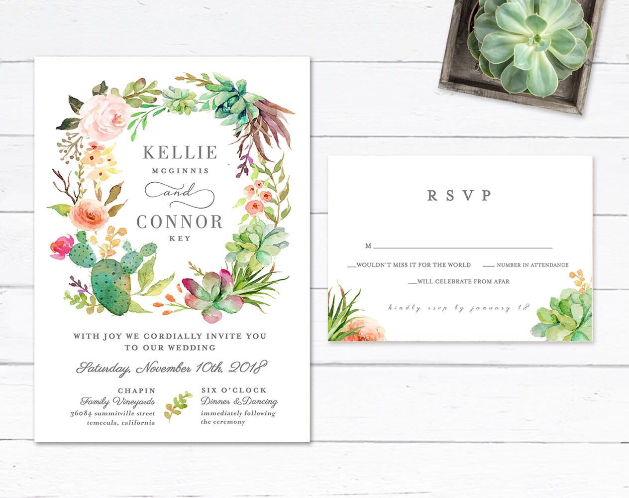 Desert Wedding Invitation Succulent Wedding Invitation | Etsy