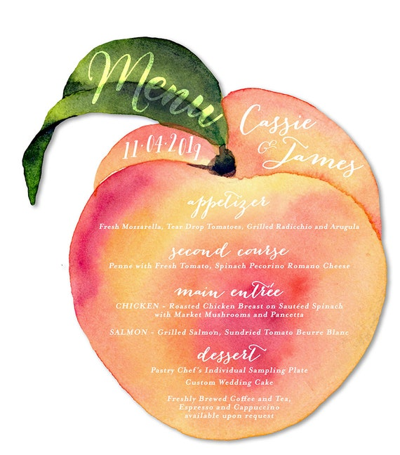 Peach Theme Wedding Peach Wedding Menus Peach Fruit Menus Etsy