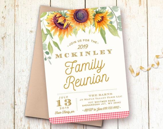 family reunion invitations picnic invitations sunflower etsy