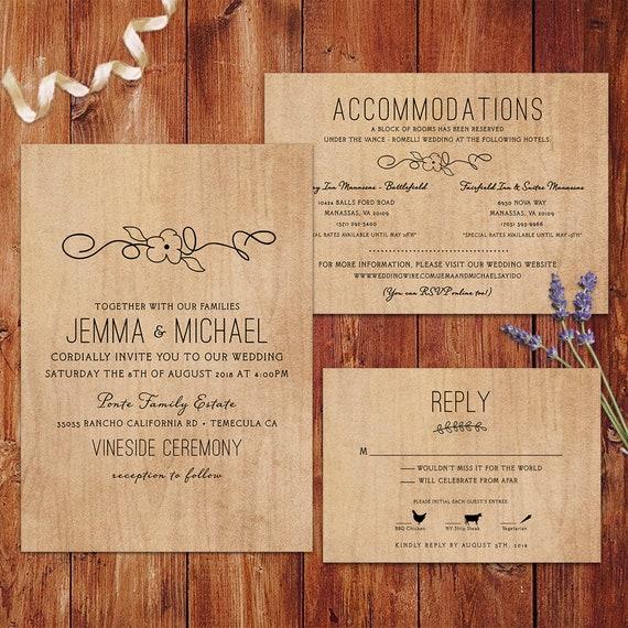 Rustic Wedding Invitations Wood Background
