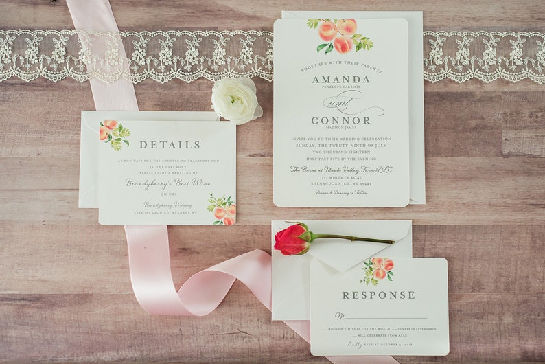 Peach Theme Wedding Invitations Peach Watercolor Elegant Etsy