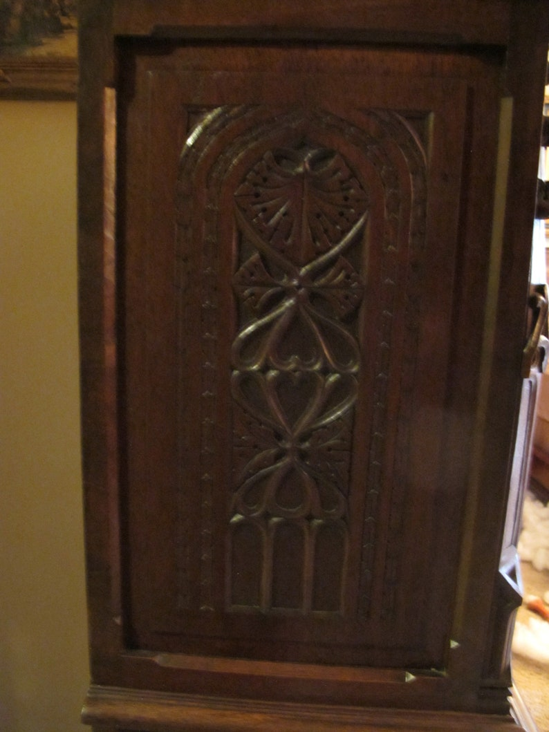 Gothic Revival Carved Oak Single Door Cabinet with Drawer