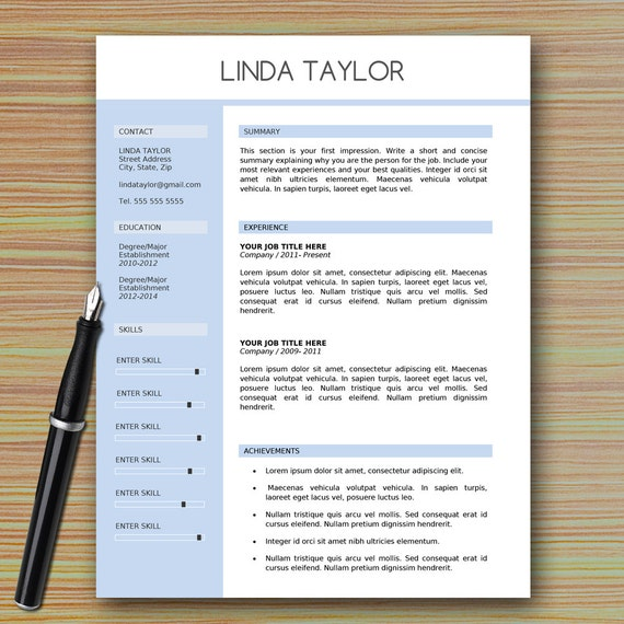 professional modern resume template for microsoft word etsy