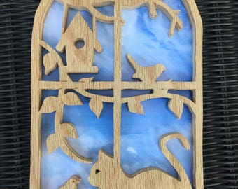 """Cat and Birds Window Scroll Saw Wall Hanging (7""""x10"""")"""