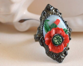 Ring Polymer Clay Red Poppy ring Romantic Jewelry handmade red ring Floral Ring Beautiful gift idea for her retro Jewelry vintage style ring