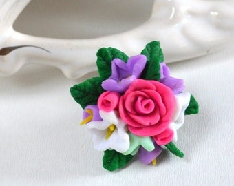 Pink rose ring Ring romantic Floral ring Gift idea Nature jewelry Bridal flower Jewelry Ring polymer clay Flowers roses sister gift ideas
