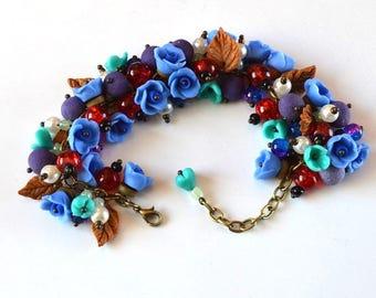 Flower bracelet blue jewelry floral bracelet gift idea for her, romantic jewelry rose bracelet,  spring jewelry cute gift for