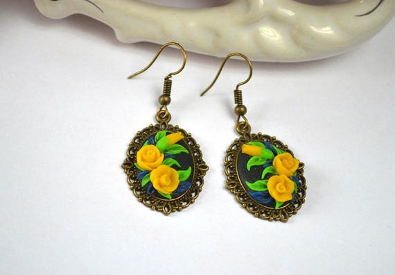 wedding accessory LEONORE golden flower earrings Mother/'s Day gift Christmas gift Spring Collection