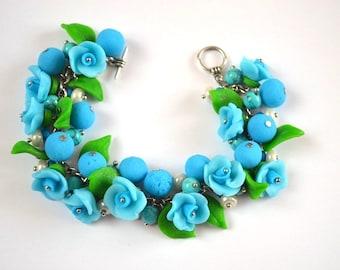 Flower bracelet gift idea for her nature jewelry, gift for sister elegant jewelry  flower girl bracelet, gardeners gift handmade bracelet