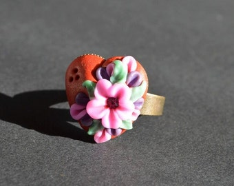 floral ring gift idea for her jewelry birthday gift heart ring birthday gift adjustable ring jewelry handmade flower ring cocktail ring gift