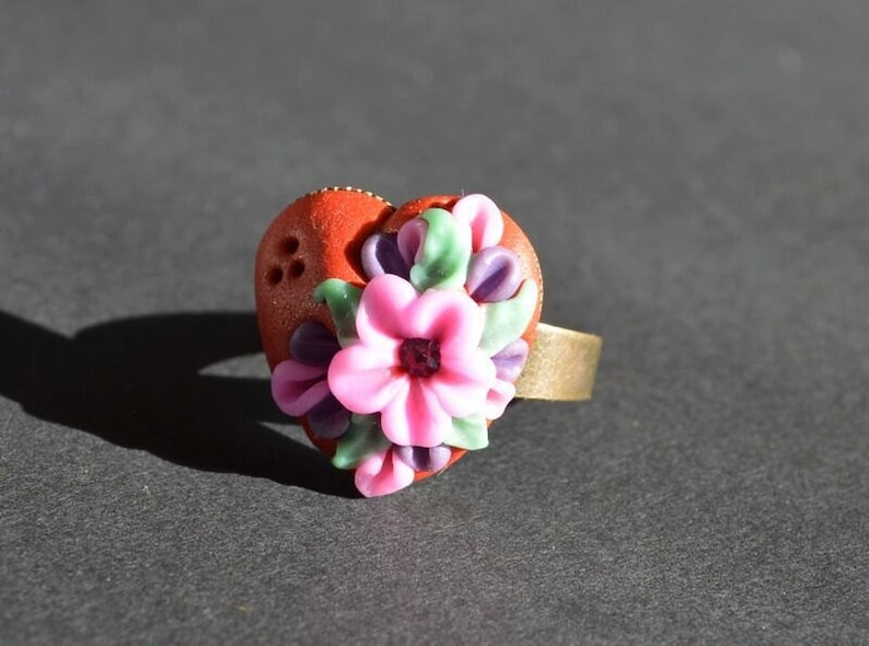 floral ring gift idea for her jewelry birthday gift heart ring image 0