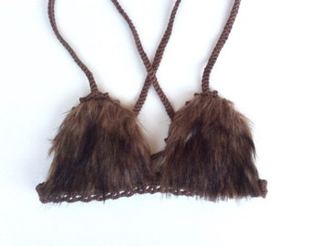 Boho festival or rave Brown faux fur cotton crochet bra top