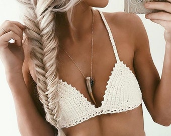 "Crochet top bralette ""Terra"" cotton criss cross back"
