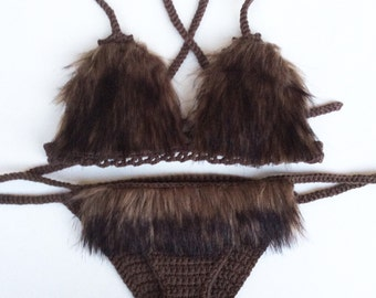 Faux dark brown fur crochet bikini festival set - festival - rave wear