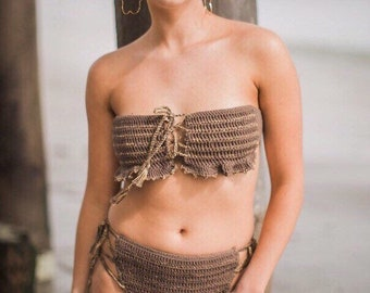 Raw sugar crochet gold thread bikini set - cotton