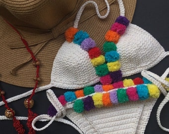 Rio pom pom colorful boho crochet bikini SET -100% cotton