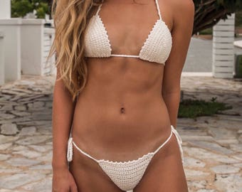 Boho Crochet swim set IXY PIXY brazilian style bottoms -100% cotton