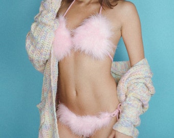 Pink faux fur barbie MIMI crochet bikini set