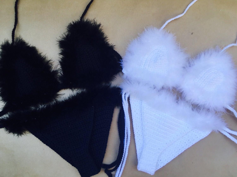 030e953f62 Feather faux fur costume crochet bikini set in black or white - rave or  festival wear