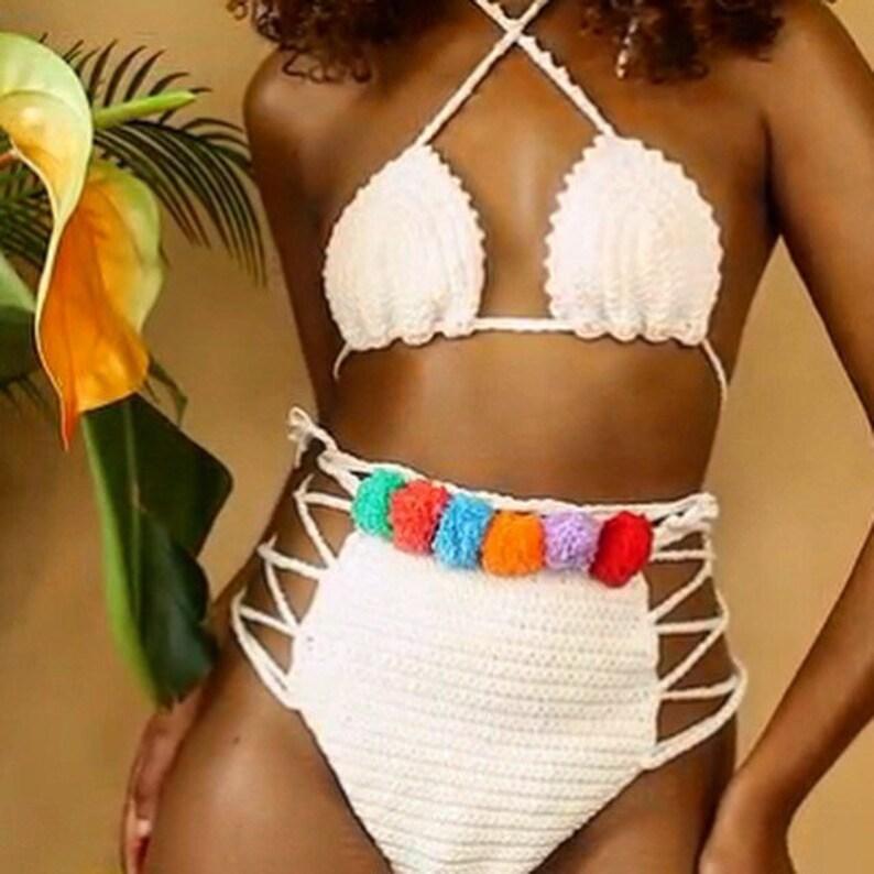 1e423171b5886 RIO pom pom high waisted crochet bikini bottoms cheeky | Etsy
