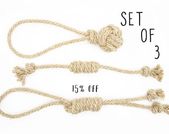Size S - 15% OFF of Set of 3 Organic Rope Dog Toys