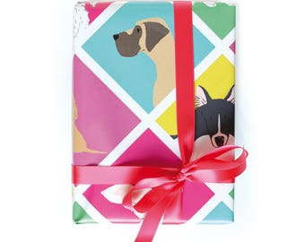 Dog Wrapping Paper colourful with different breeds, 2 Sheets 50x70cm