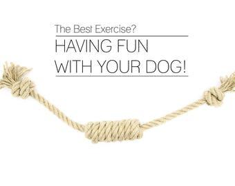 Organic Dog Toys made of Hemp Rope - For Tug of War - Retrieving - Fetch