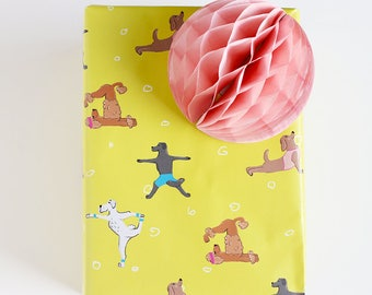 Wrapping Paper Dog Yoga fun with different breeds, 2 Sheets 50x70cm