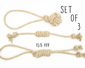 Size M - Natural Dog Toys Set made of organic hemp rope, 15% DISCOUNT on Set of 3