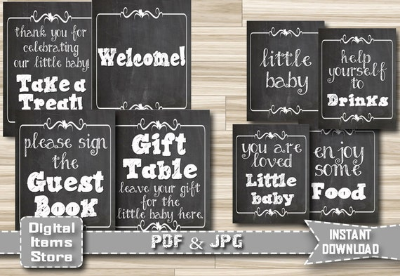 Printable Baby Shower Chalkboard Table Signs Baby Shower | Etsy