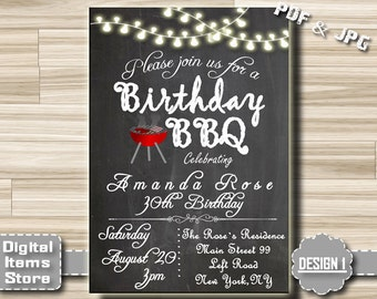 Birthday chalkboard invitation BBQ - Adult BBQ birthday invitation, boy girl invitation, BBQ birthday chalkboard invitation