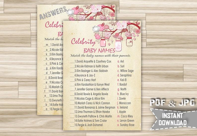 Printable Celebrity Baby Names Game mjp Instant Download Baby Shower Celebrity Baby Names Game With Pink Vintage Mason Jars Theme