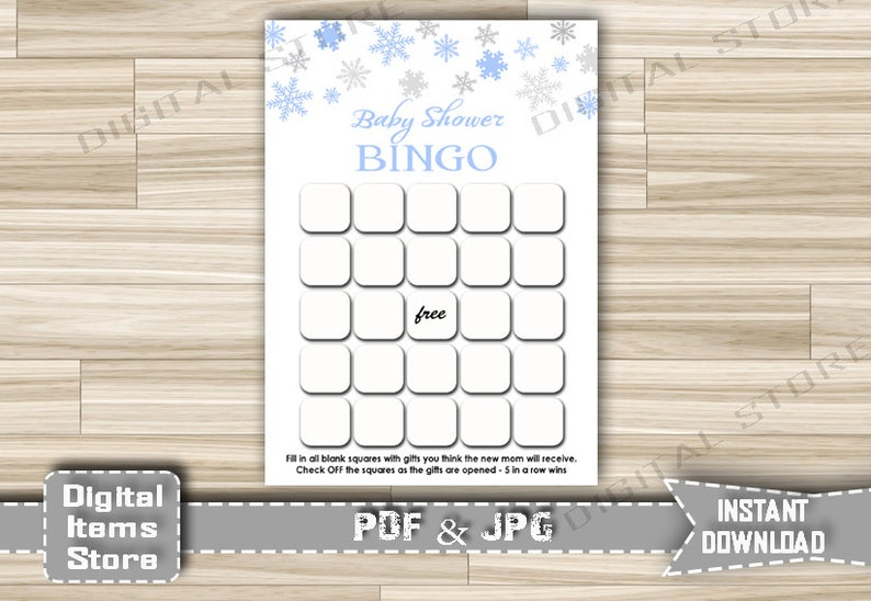 sb2 Instant Download Baby Shower Winter Bingo Game for Little Man Blue Snowflakes Shower Snowflakes Blue Bingo Game Baby Shower