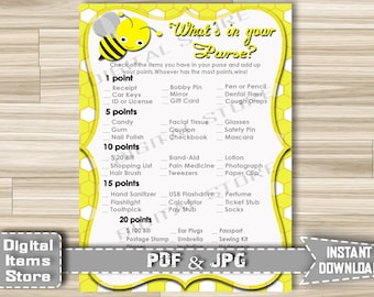 Baby Shower What's In Your Purse Printable Bee - Printable What's In Your Purse Party Game Bumble Yellow - Instant Download - bee1
