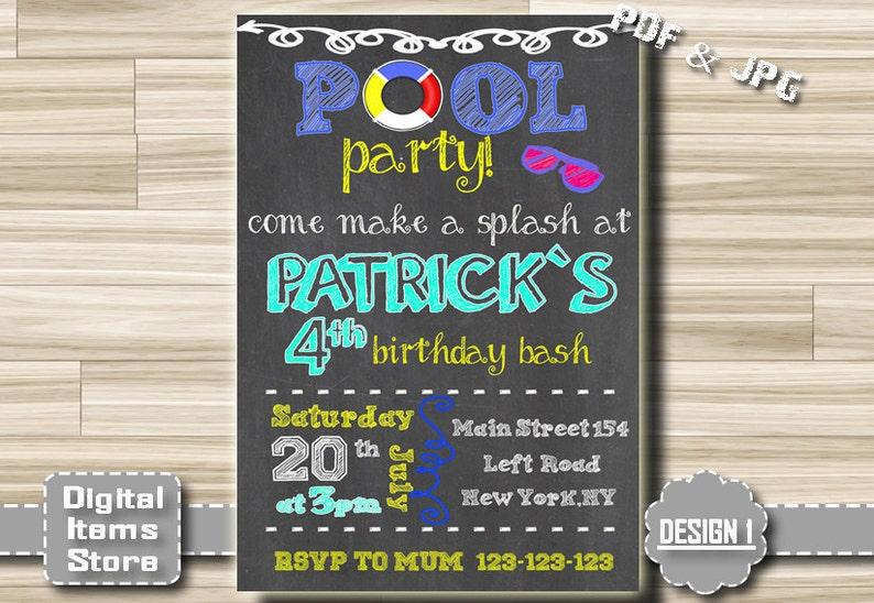 Pool Party Invitation Boy Birthday
