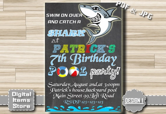 birthday invitation pool party shark pool party invites etsy