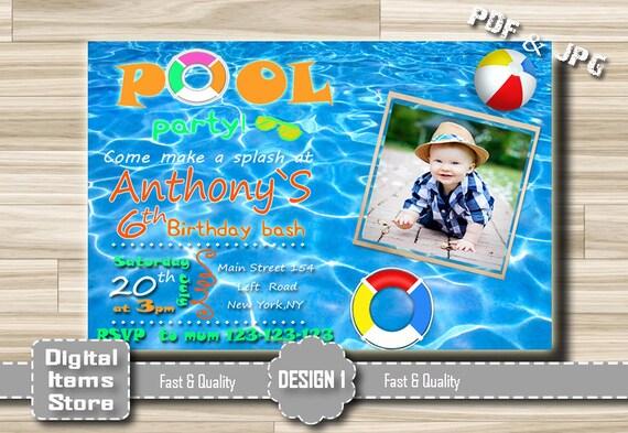 Pool Invitation Boy Or Girl Birthday Invitation Pool Party Etsy