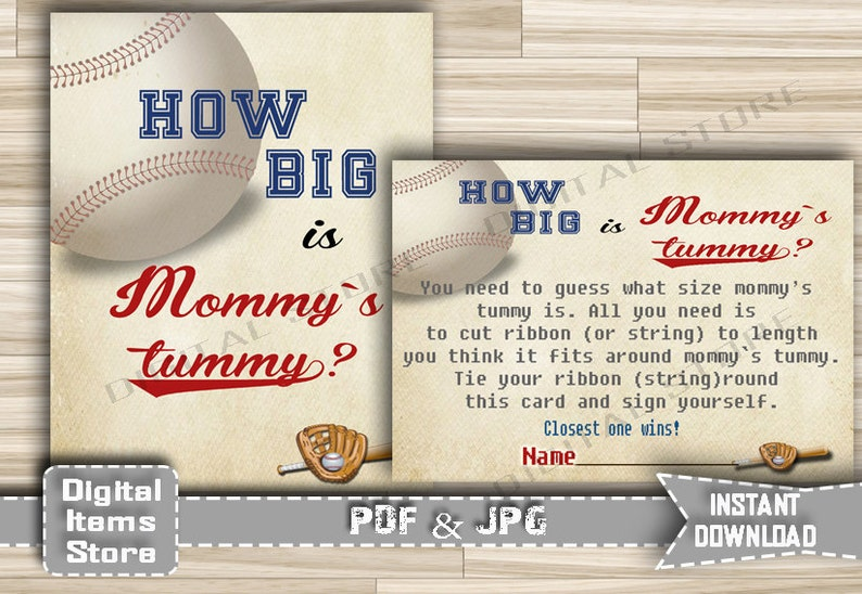 How Big Is Mommys Belly Game Baseball Printable Baby Shower Tummy Guessing Game In Vintage Baseball Theme Instant Download Bb2