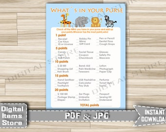 Baby Shower Whats In Your Purse - Printable Whats In Your Purse Safari Theme - Whats In Your Purse Animals Jungle - Instant Download - sb1