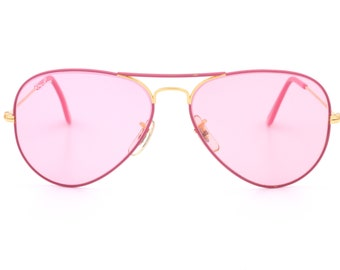 611cf37710 Vintage Ray Ban B L   unusual pink aviator sunglasses 90 s